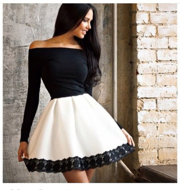 skirt high waisted skirt peplum top long sleeves black and white black top off the shoulder summer outfits cute outfits spring outfits party outfits dress