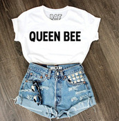 t-shirt,sunglasses,beyonce,white and black tshirt,denim shorts,jeweled shorts,High waisted shorts,queen bee,lorde,batoko,www.batoko.com,top,queen,shirt,cute,graphic tee,queen b,shorts