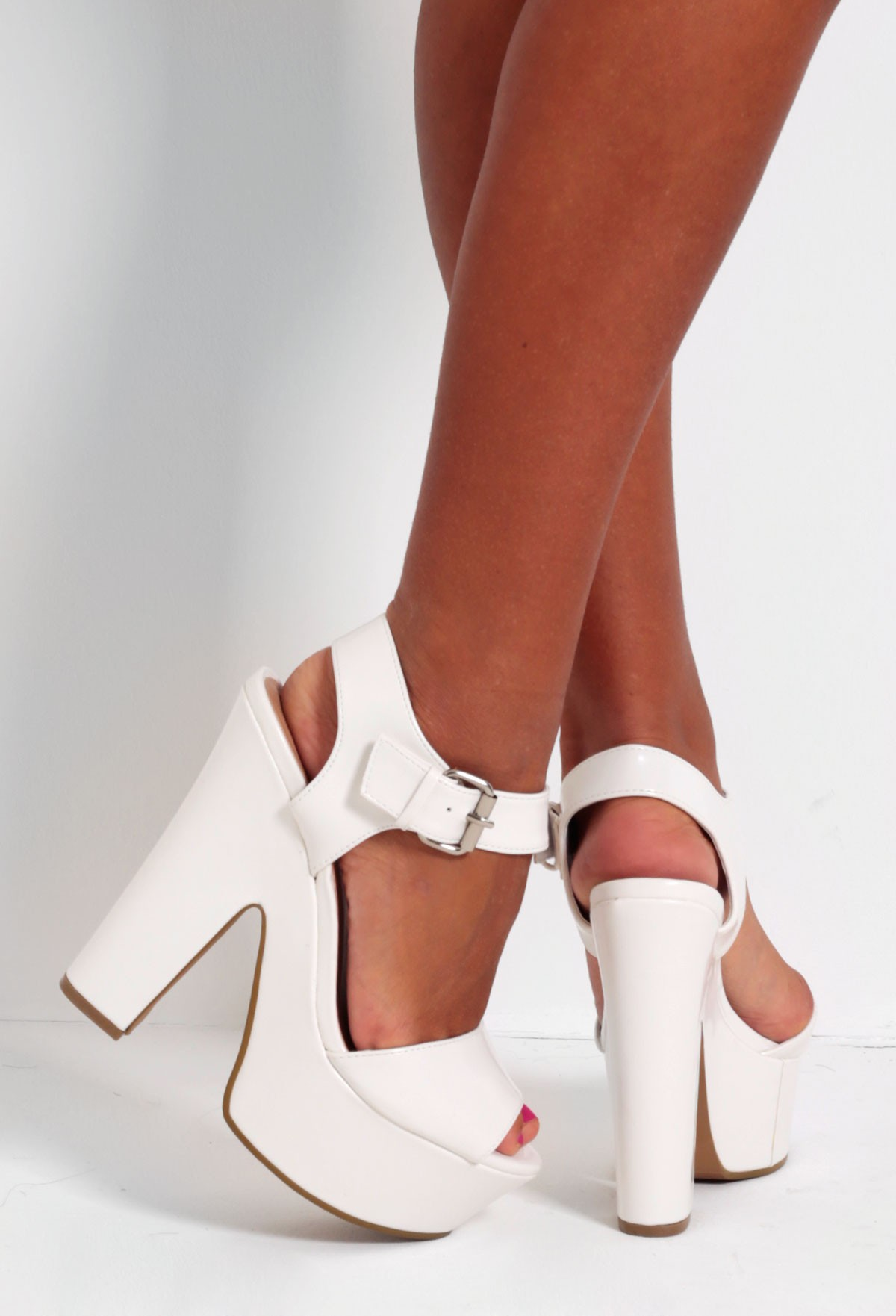 White Shine Platform Wedge Shoes | Pink Boutique