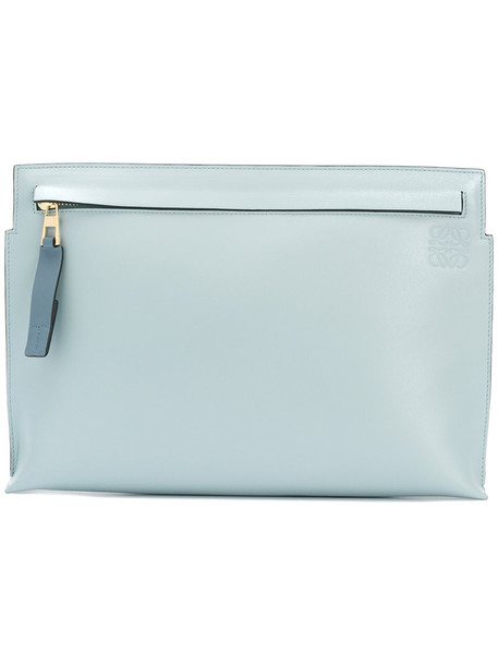 LOEWE women pouch leather blue bag