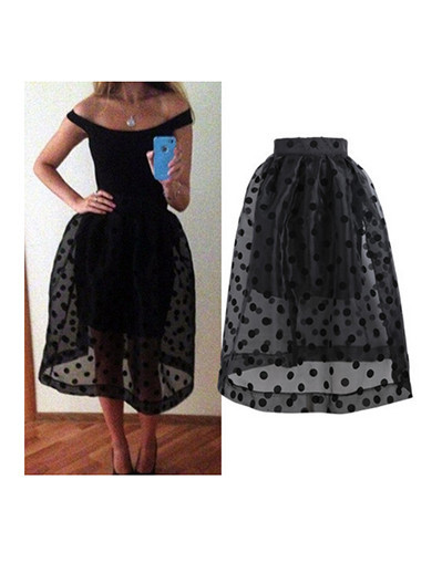 Calf skirt dots ball gown black