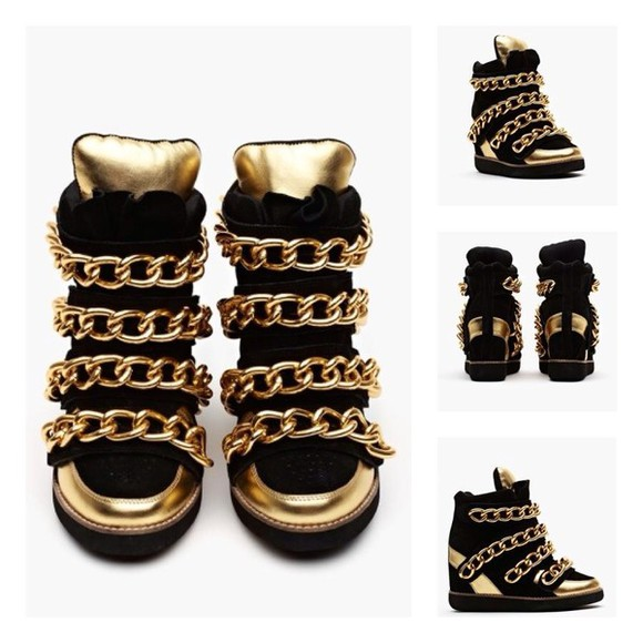 shoes jeffrey campbell gold chain wedge sneakers