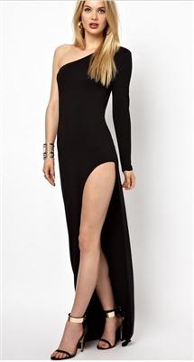 """hollywood beauty"" long split hem dress ( 3 colours to choose)"