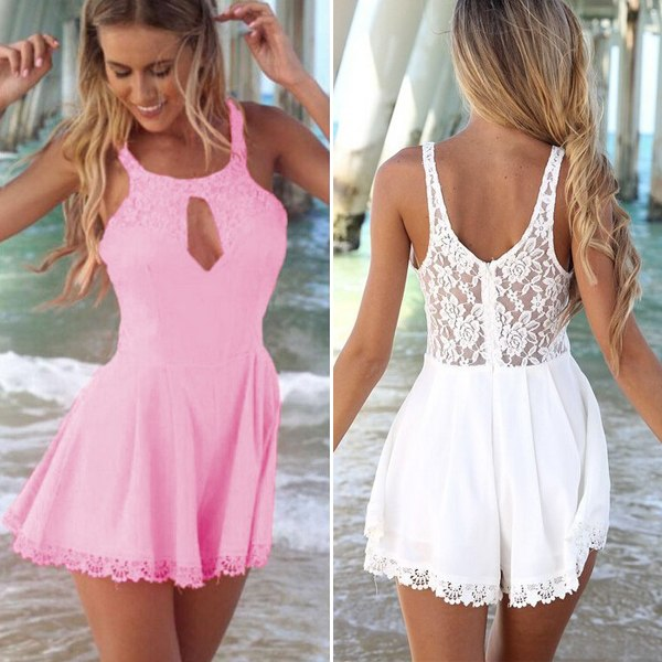 Sexy Femmes Combishort Combinaison Shorts Sleeveless dentelle Playsuit Jumpsuits