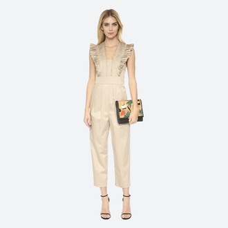 jumpsuit beige ruffle pleated cocktail birthday date outfit spring