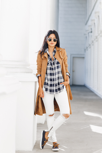 walk in wonderland blogger shirt coat jeans shoes sunglasses