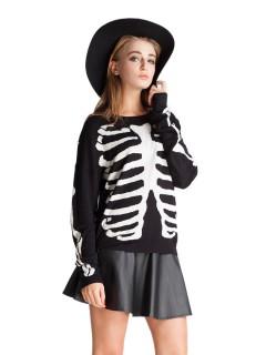 Black knit sweater with rib pattern