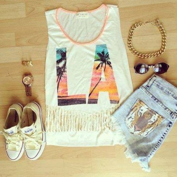shorts la tank top sun set palm tree print tiger print High waisted shorts tank top