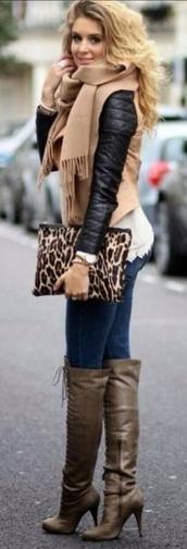 jacket,biker jacket,fringe scarf,leather jacket,lace,jeans,leopard print,clutch,overknee boots,lace up boots,scarf,bag,shorts,shoes