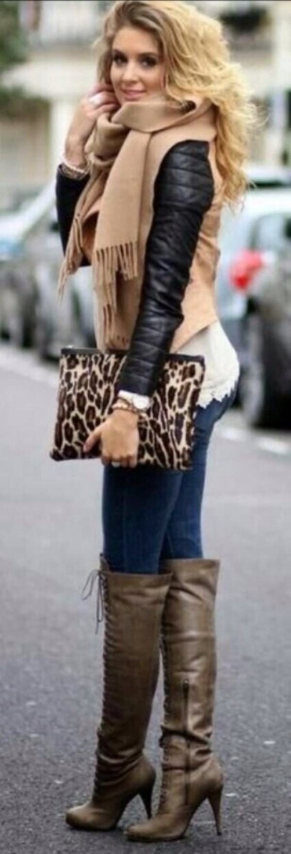 jacket biker jacket fringe scarf leather jacket lace jeans leopard print clutch overknee boots lace up boots scarf bag shorts shoes