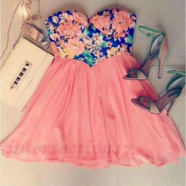 dress white floral cute dress pink pink dress high heels sandals cute sandals bag floral bustier bustier strapless dress shoes