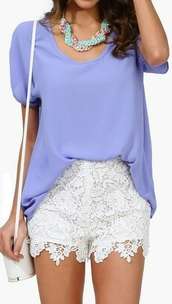 shorts,lace,white,lilac,blouse,outfit,summer,handbag,short sleeve,girly,fashion,jewels