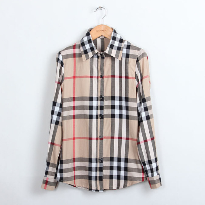 Hot sale summer Fashion lattice blouse Europe stripe plaid printed lady vintage design long sleeve slim women shirt top quality-in Blouses & Shirts from Apparel & Accessories on Aliexpress.com