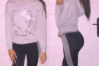 sweater hello kitty jogging suit grey sweater grey black