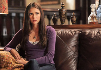 shirt girl purple bow vintage cute tank top top necklace jeans the vampire diaries long sleeves nina dobrev elena gilbert style outfit hair long sleeves shirt t-shirt