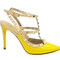 Stylish shoes - yellow rockstud slingback sandals