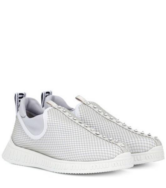 Miu Miu Crystal-embellished sneakers in grey