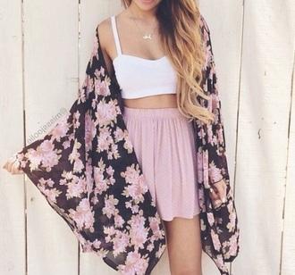 cardigan kimono pink black bralette skirt shorts