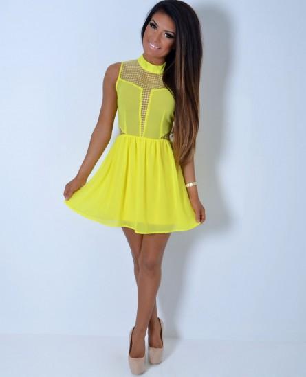 Canary Bright Yellow Chiffon Mesh Skater Dress