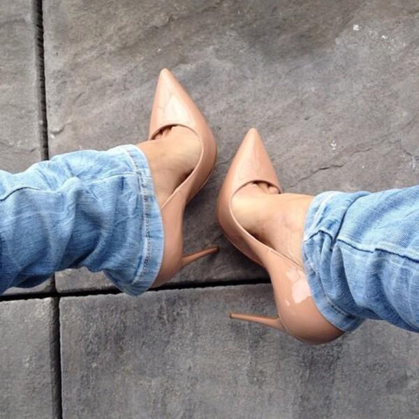 Shoes: high heels, nude pumps, nude high heels, pumps, patent ...
