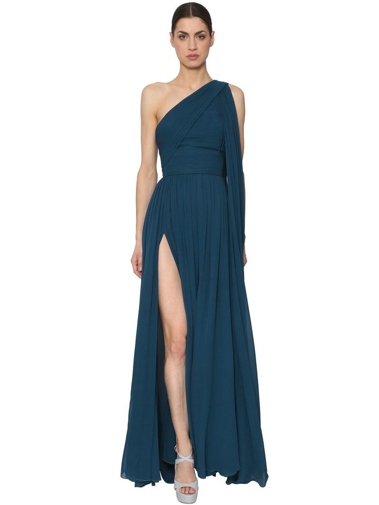 ELIE SAAB One Shoulder Crepe Georgette Dress in blue