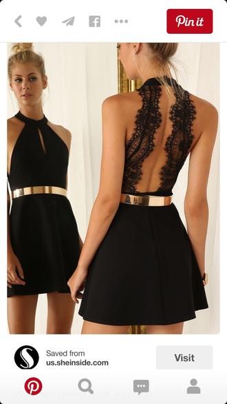 dress black dress gold belt backless dress halter dress belt