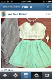 skirt,mint color with sliver crosses