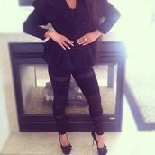 pants,leggings,black leggings,mesh leggings,jacket