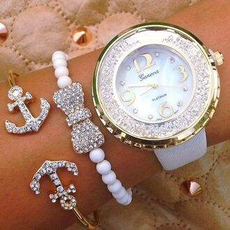 jewels watch bow anchor bracelets fashion geneva