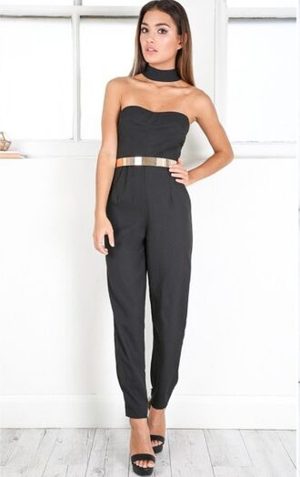 jumpsuit girl girly girly wishlist cute style black black jumpsuit gold belt choker necklace off the shoulder jewels black choker absolutemarket