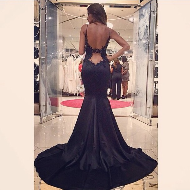 dress black backless long dress