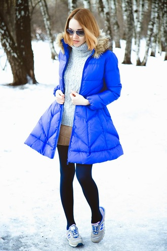 gvozdishe blogger coat sweater shorts tights shoes sunglasses