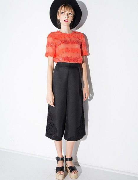 Pants Black Lace Culottes Korean Fashion Korean Trends