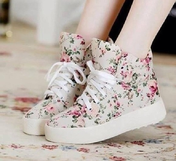 shoes platform boots floral laces colourful