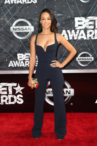 jumpsuit gown navy plunge v neck draya michele bet awards