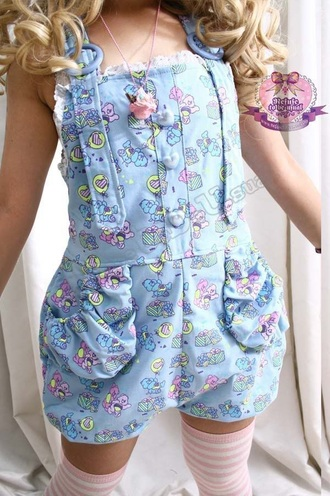 romper blue romper cute dd/lg kawaii cute rompers