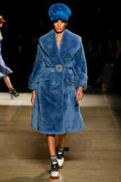 coat,fur,fur coat,miu miu,runway,joan smalls,Paris Fashion Week 2017,fashion week 2017,hat,blue,blue coat