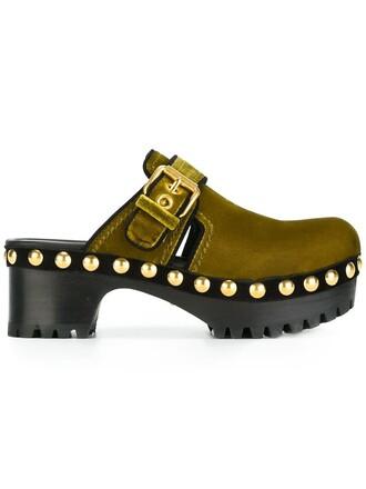 clogs studded women cotton velvet green shoes