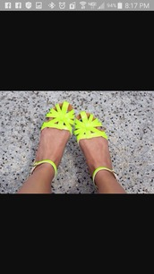 shoes,neon yellow,yellow,flat sandals