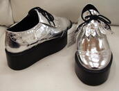 platform sneakers,silver,shoes