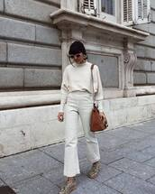 pants,tumblr,white pants,wide-leg pants,top,white top,bag,brown bag,shoes,net,net tights,tights,fishnet tights,sunglasses,python shoes,snake shoes,work outfits,office outfits