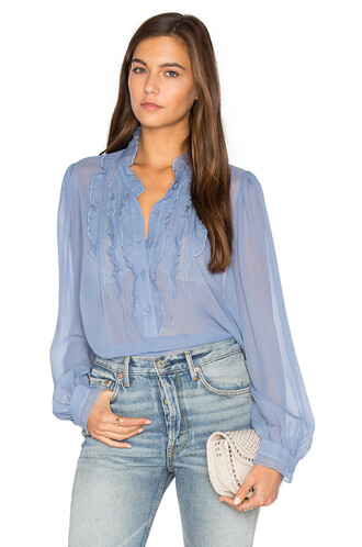 blouse ruffle blue top