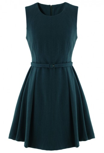 Belted Sleeveless Pleated Dress in Turqoise - Retro, Indie and Unique Fashion
