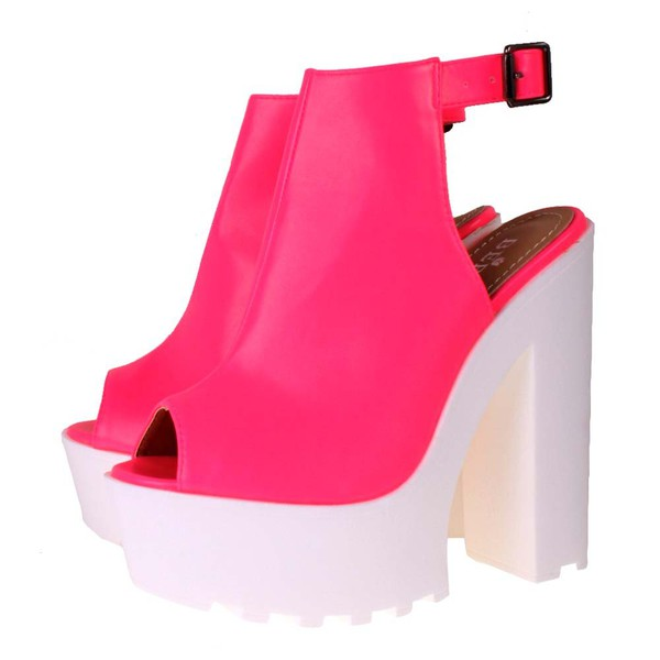 shoes neon neon pink neon pink high heels platform shoes