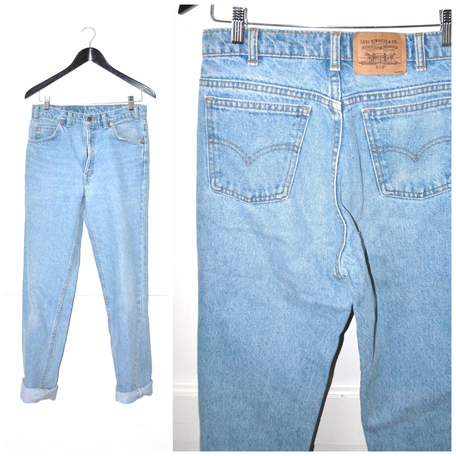 687054c2 90s grunge LEVIS mom jeans / vintage early 1990s high waisted LIGHT WASH  faded denim boyfriend jeans ...