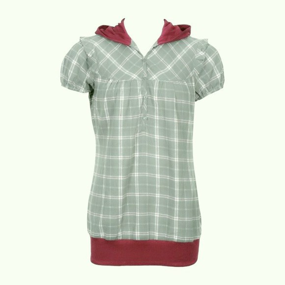 hood checkered flannel green shortsleeved