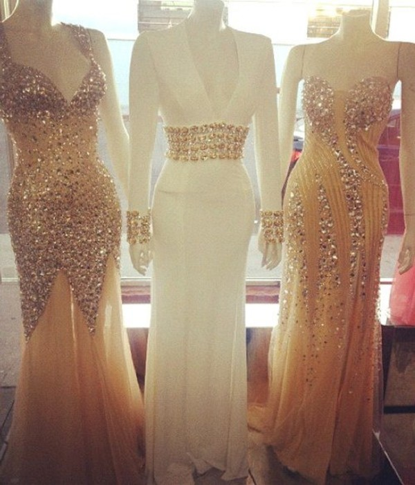 dress, gold, white, nude, silver, beaded, sparkle, detail, gold ...
