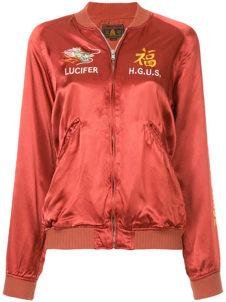 Hysteric Glamour - embroidered bomber jacket - women - Cupro/Rayon - M, Red, Cupro/Rayon