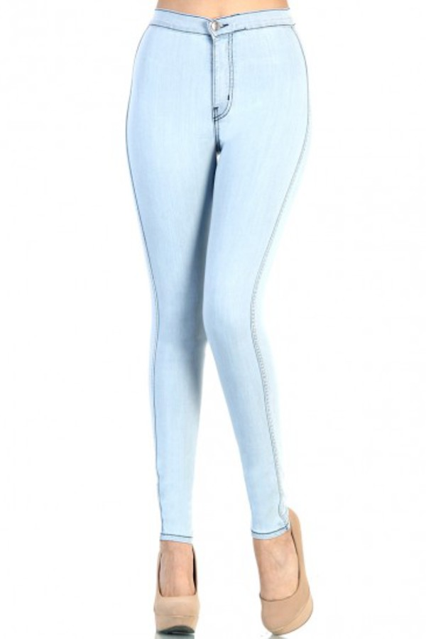 jeans - High Waisted Fitted Skinny Jeans Light Blue
