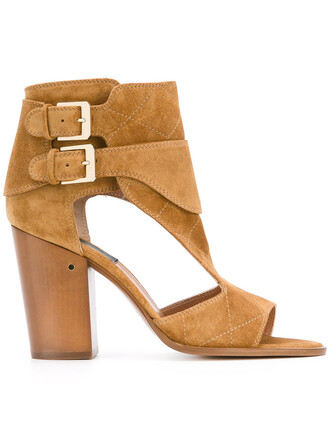 heel women sandals leather brown shoes